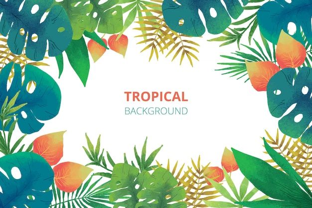 Watercolor tropical nature background