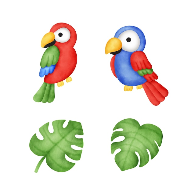Акварельные тропические попугаи