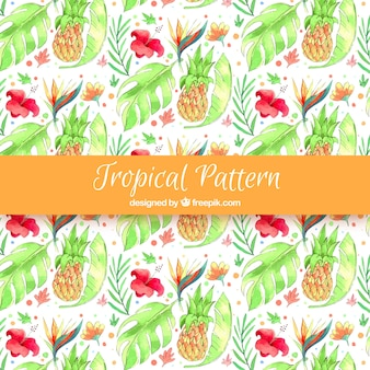 Watercolor tropical pattern with lovely style