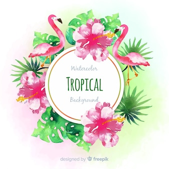 Watercolor tropical plants and flamingos background