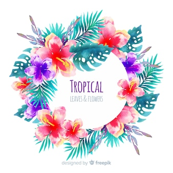 Watercolor tropical plants frame background