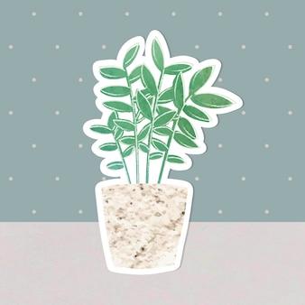 Акварельная наклейка с тропическим растением в горшке