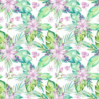 Watercolor tropical seamless pattern with flowers and leaves