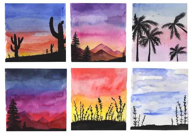 Watercolor tropical sunset scenery