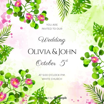Watercolor tropical wedding invitation card