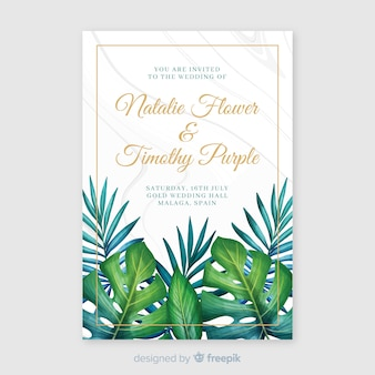 Watercolor tropical wedding invitation template
