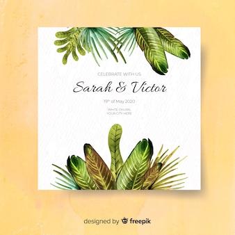 Watercolor tropical wedding invitation template