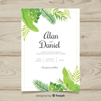 Watercolor tropical wedding invitation