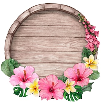 Watercolor tropical wooden sign