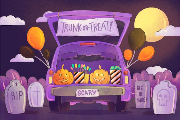 Watercolor trunk or treat background