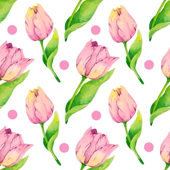 Watercolor tulips pattern digital paper design with pink dots