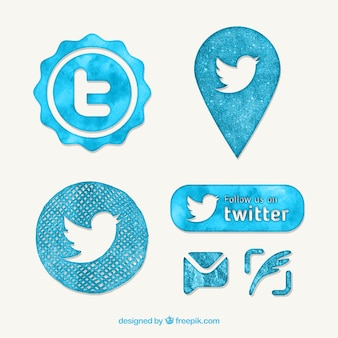 Watercolor twitter button pack