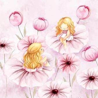 花の上に座っている水彩画の2つの花の妖精