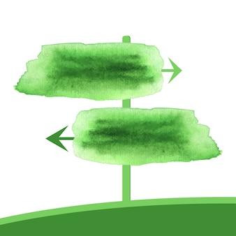 수채화 두 개의 녹색 화살표입니다. 수채화에서 벡터 포인터 봄 배너