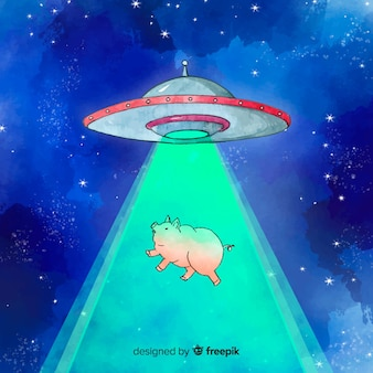 Watercolor ufo abduction concept