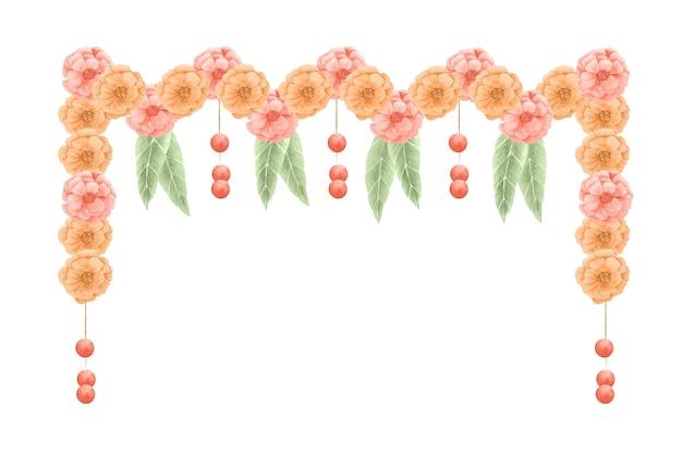 水彩ウガディ花輪イラスト