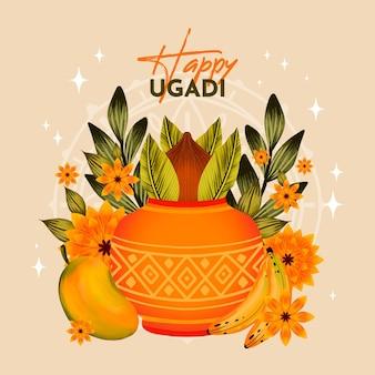 Watercolor ugadi illustration