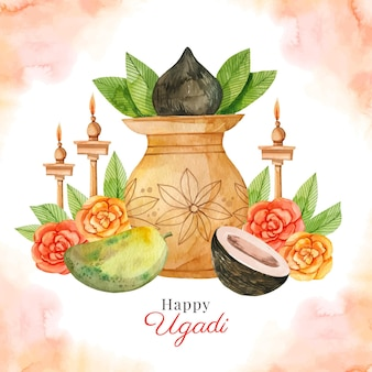 Illustrazione dell'acquerello ugadi