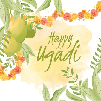 Watercolor ugadi with leaves and nature