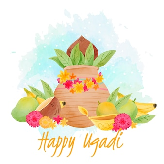Watercolor ugadi with plants and flowers