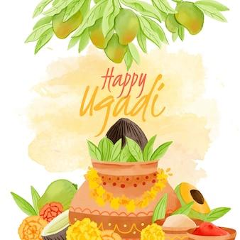 Watercolor ugadi with plants