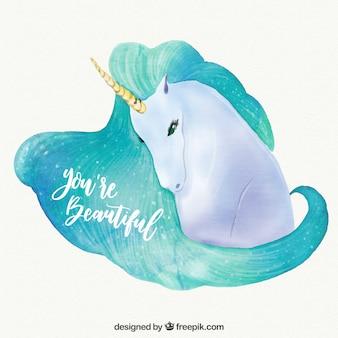 Acquerello sfondo unicorno con messaggio ispiratore
