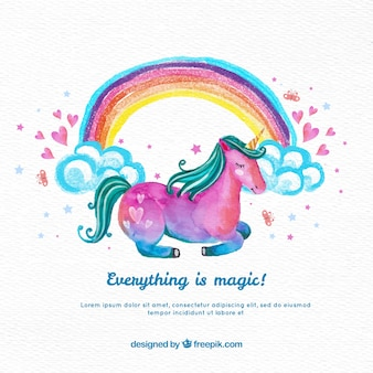 Watercolor unicorn background with rainbow
