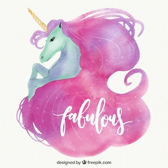 Watercolor unicorn background with the word