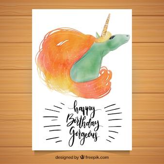 수채화 유니콘 생일 카드