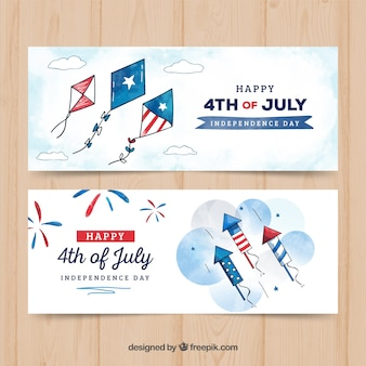 Watercolor usa independence day banners