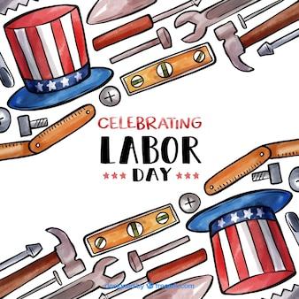 수채화 미국 노동절 구성