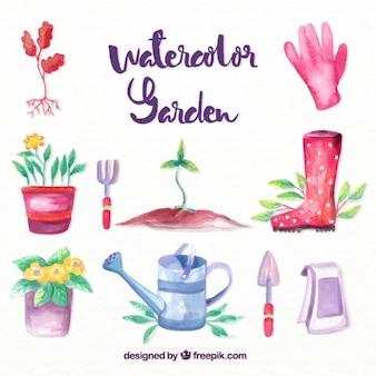 수채화 유용한 정원 액세서리 무료 벡터