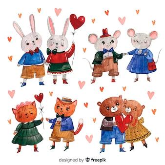 Watercolor valentine animal couple set