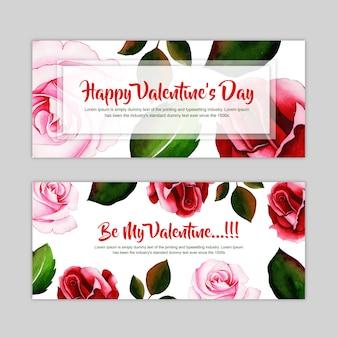 Watercolor valentine banner set