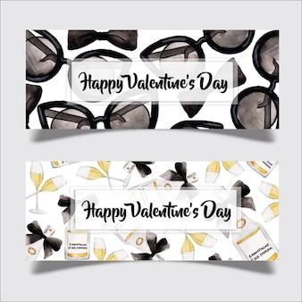 Watercolor valentine banner