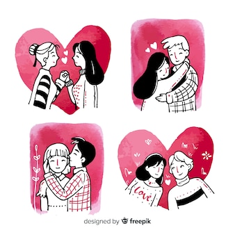 Watercolor valentine couple pack