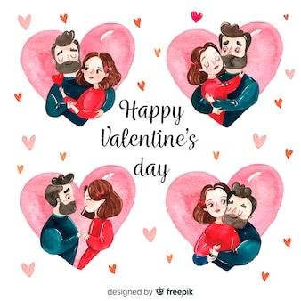 Watercolor valentine couple set