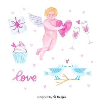 Watercolor valentine cupid collection
