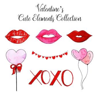 Акварель валентина симпатичные элементы коллекция