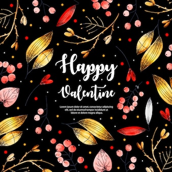 Watercolor valentine elements background