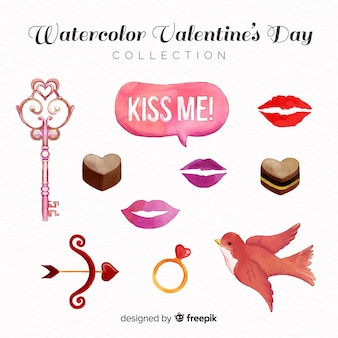 Watercolor valentine elements pack