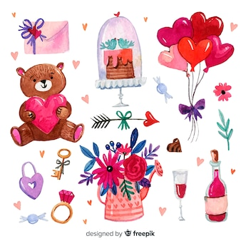 Watercolor valentine elements set