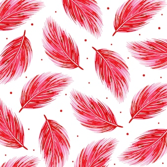 Watercolor valentine feather pattern background