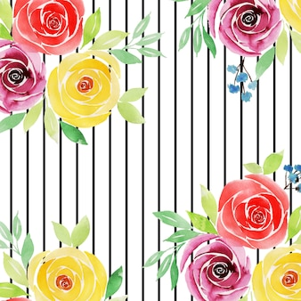 Watercolor valentine floral background with stripes