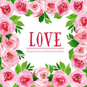 수채화 발렌타인 꽃 배경