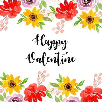 Watercolor valentine floral background