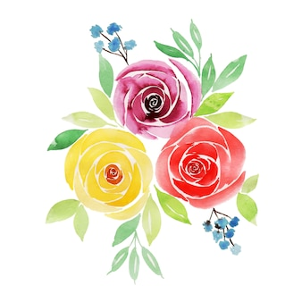Watercolor valentine floral bunch