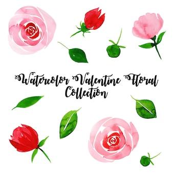 수채화 발렌타인 꽃 모음