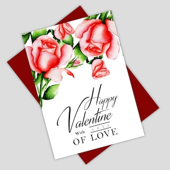 Watercolor valentine floral greeting card