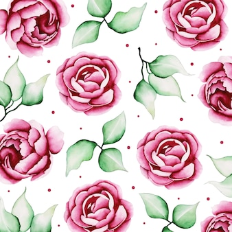 Watercolor valentine floral pattern background